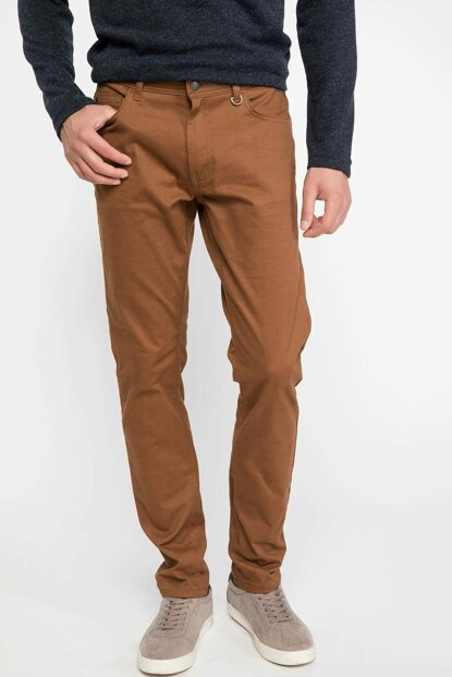 Men's Brown Daniel Casual Extra Slim Fit Trousers J1048AZ.18AU.BN132