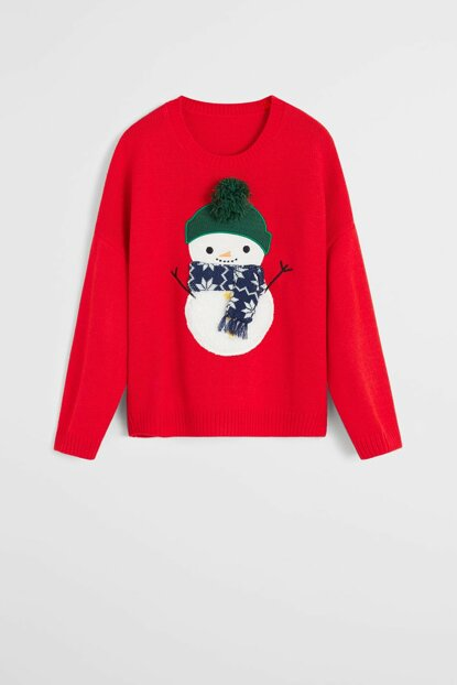 Red Girl Child Christmas Printed Pullover 57029078