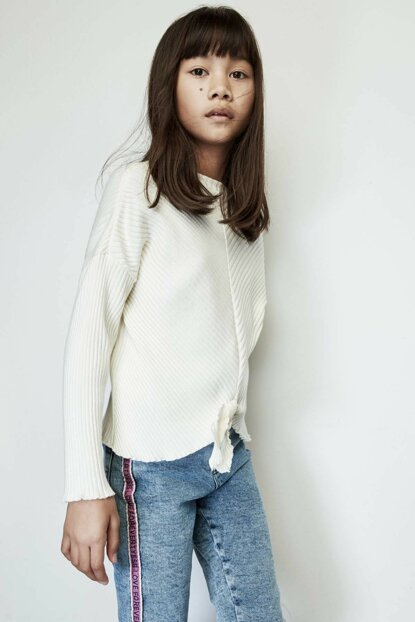 Girls' White Pullover 19PFWTJ4406