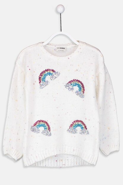 Girl's Sequins Embroidered Thick Sweater 8WO175Z4