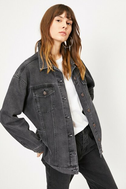 Women's Black Pocket Detail Jean Jacket 0YAK57646MD