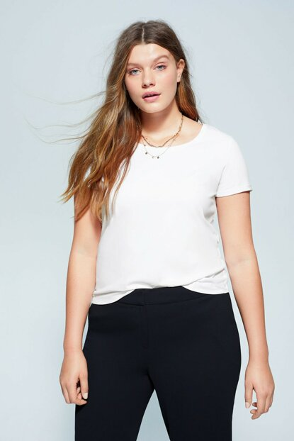 Women's White Organic Cotton Basic T-Shirt 67010042