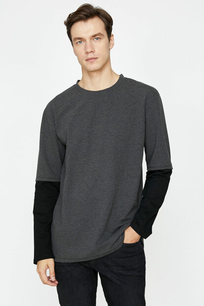 Men's Gray Sleeve Detailed Long Sleeve T-shirt 9KAM11439NK