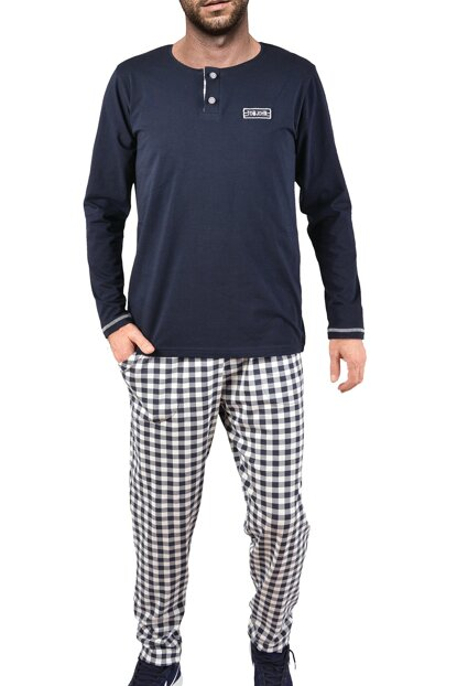 Men's Navy Blue Long Sleeve Pajama Set 93184