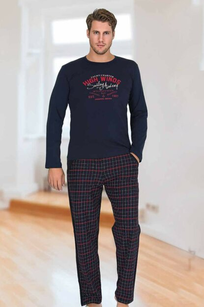 Men's Navy Blue Berland 3765 Modal Long Sleeve Pajama Set 4476