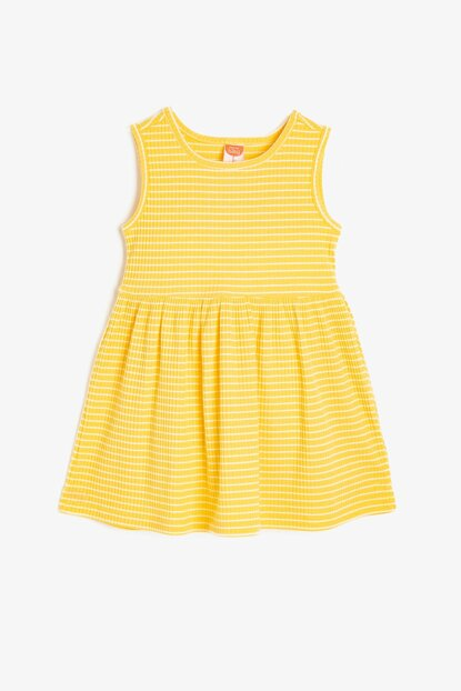 Yellow Striped Baby Girl Dress 9YMG89103OK