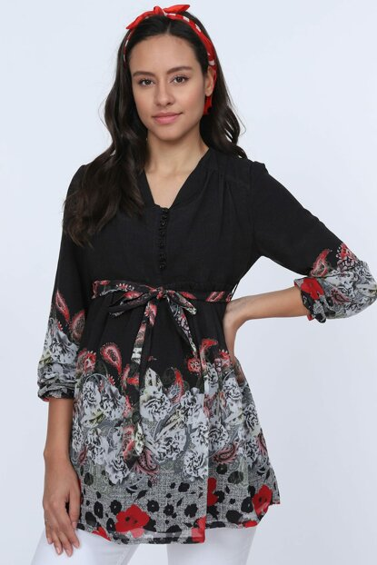 Maternity Floral Button Detailed Chiffon Tunic Black 8580Y