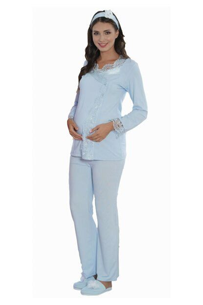 Women's Blue 5114 Lacy Lohusa Maternity Pajamas Set SM5114