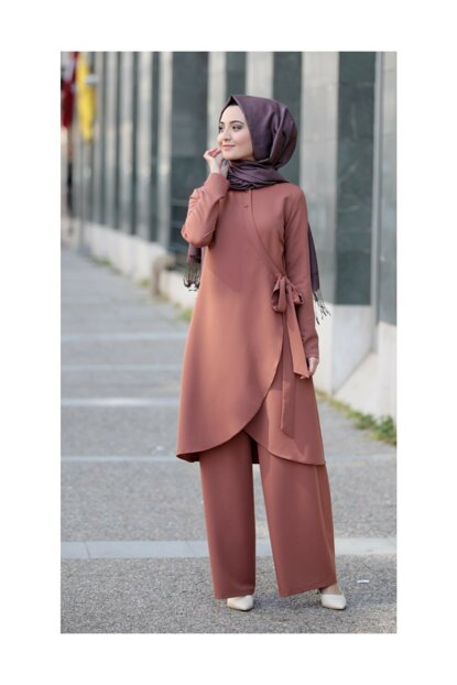 Belt Detail Hijab Double Set 10036