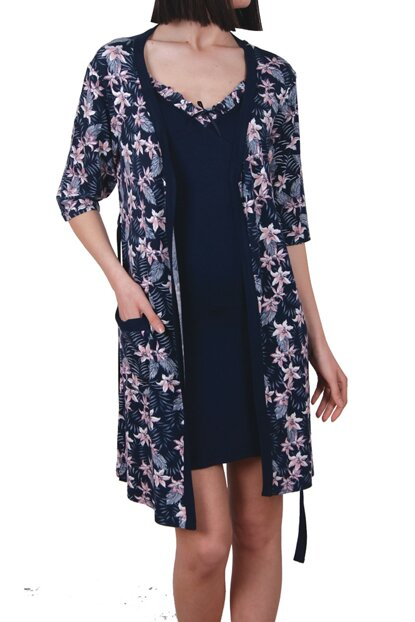 Women Navy Blue Tunic Rope Hanger Double Set Viscose Nightdress Dressing Gown 91093