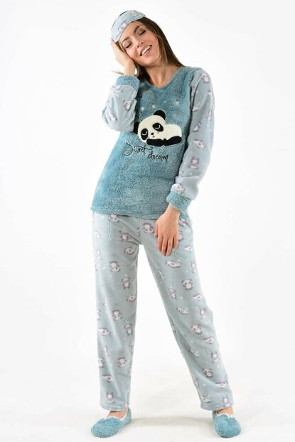 Women's Green Pajamas Welsoft Fleece Pajama Set With Eye Banded Booties 4462