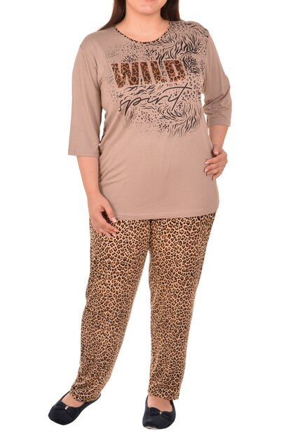 Women's Brown Plus Size Pajama Set 32003