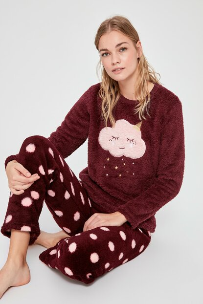 Burgundy Welsoft Pajama Set THMAW20PT0178 THMAW20PT0176
