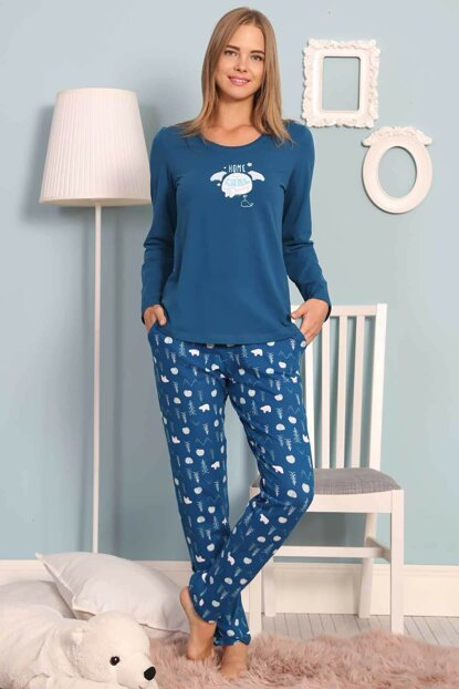 Women's Oil Lycra Long Sleeve Pajama Set 8032982395 Y19W137-8032982395