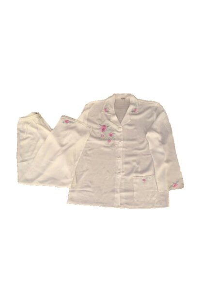 White Flower Embroidered Pajama Set MOOİ001
