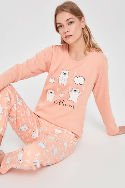 Peach Printed Pajama Set THMAW20PT0279