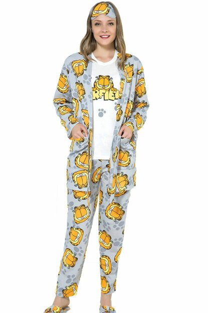Women's Gray Garfield Patterned Dressing Gown Pajama Set 11441403