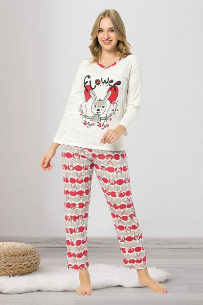 Women's Red Rabbit Printed Pajama Set MPI0088