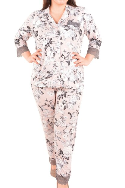 Women's Ecru Pajama Set 3/4 Sleeve Plus Size 22002