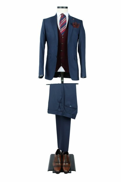Men's Navy Blue Solid Color Comfort Fit 8 Drop Suit 15-371 - 3C5Y0162D371ALC