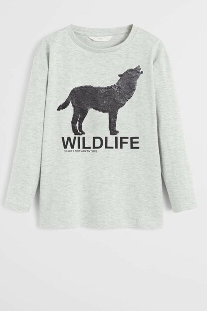 Medium Flecked Gray Boy Kid's Double Sided Wolf Sequin T-Shirt 57045917