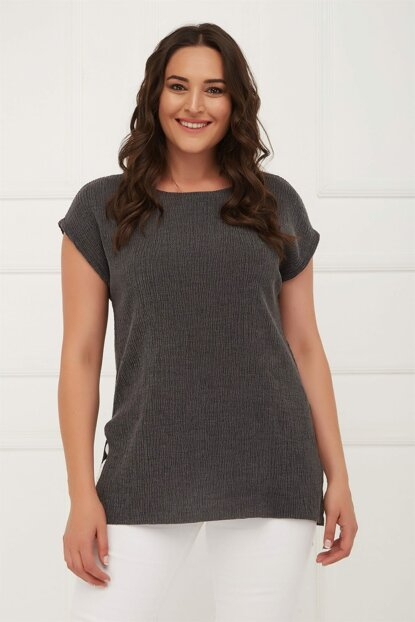 Women's Anthracite Side Slit Blouse Anthracite PRA-256449-692462