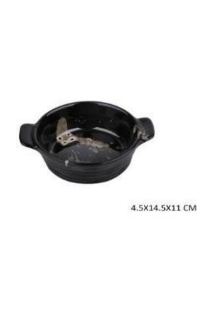 14.5 Cm Black Heat Resistant Round Oven Container Troy8 CHR014