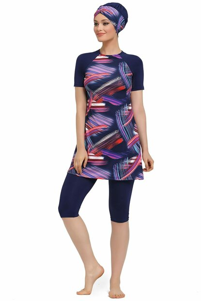Women Hijab Swimwear Short Sleeve Patterned Laci 9155-603-2 ARMST9155-603-2