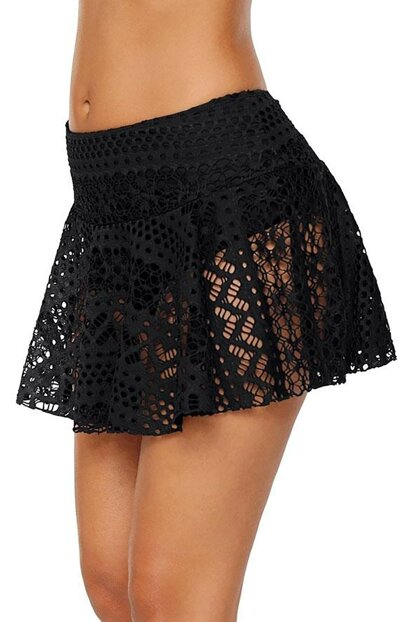 Women's Black Lace Skirt Bikini Bottom 1472100