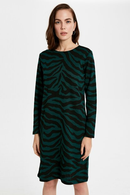 Women's Green Jacquard Dress 9WY419Z8
