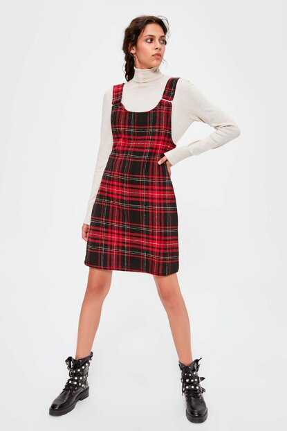 Red Plaid Gilet Dress TWOAW20EL0293