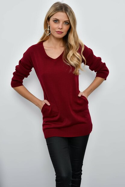 Women Burgundy V Neck Sweater Tunic YV23