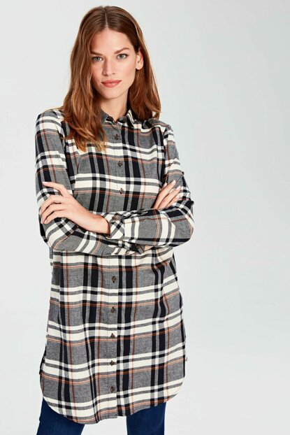 Women's Black Plaid Tunic 9WL905Z8