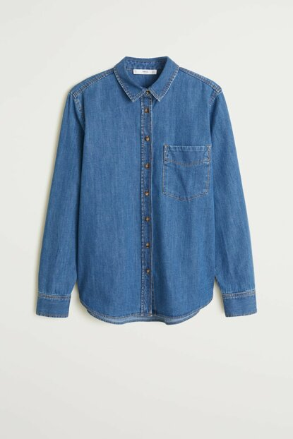 Women's Dark Blue Pockets Denim Shirt 57087691