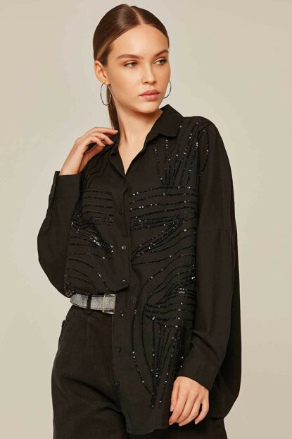Women's Black Sequins Sequin Embroidered Bat Sleeve Shirt 30593 Y19W109-30593