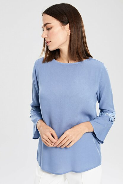 Women's Matte Blue Blouse 8S1960Z8
