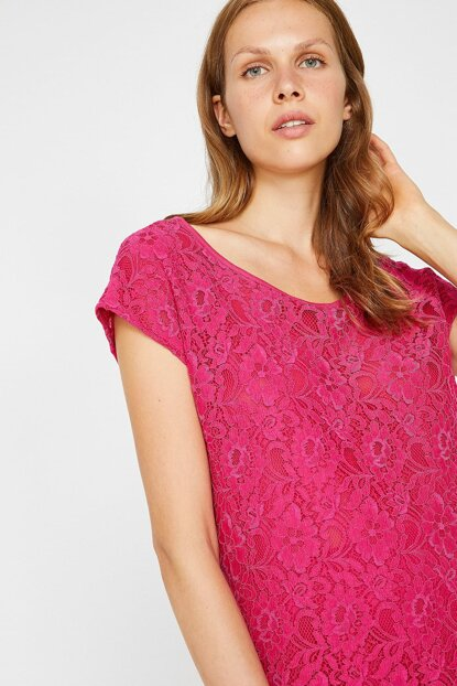 Women's Pink Crew Neck Short Sleeve Lace Detailed Blouse 8YAK13273EK