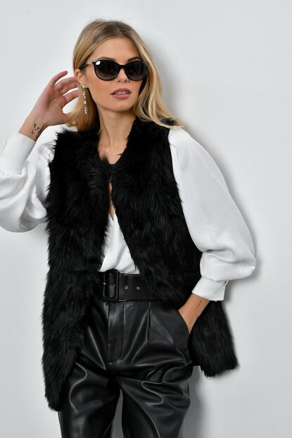 Women Black Faux Fur Long Vest DY2510