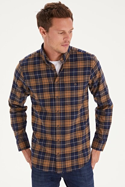 Men's Camel Feather Plaid Shirt 9W9366Z8