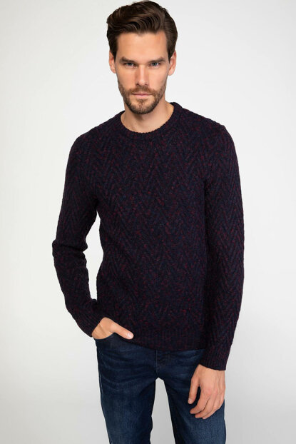 Men's Jacquard Patterned Sweater J6649AZ.18WN.NV64