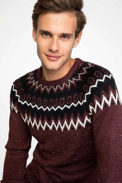 Men's Jacquard Patterned Sweater Pullover J4572AZ.18WN.BN277