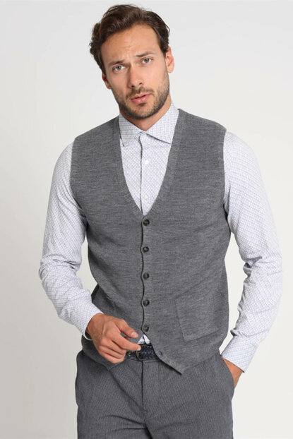 V-Neck Vest with Tuna Gray 112110005100150