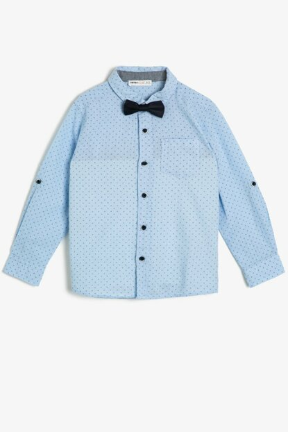 Blue Bow Tie Detail Shirt 0YKB66135TW