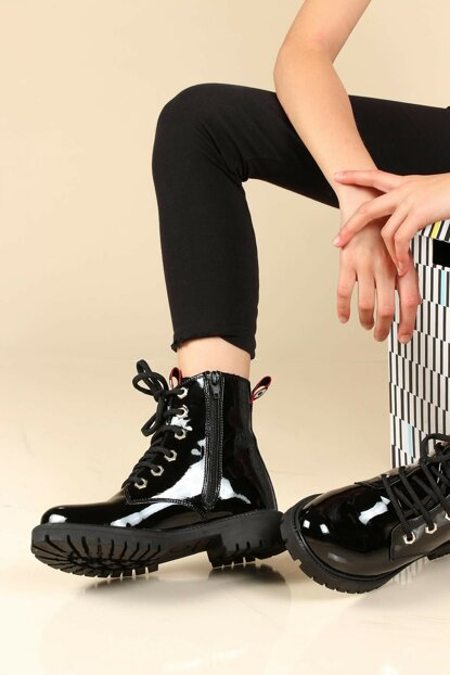 Black Patent Leather Girls Boots TY006SFA1003-16777385
