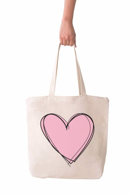 Large Pink Heart Shopping Beach Tote Bag 2988419