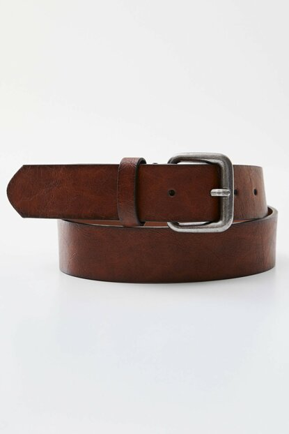 Men's Brown Shaded Effect Artificial Leather Belt 09873515
