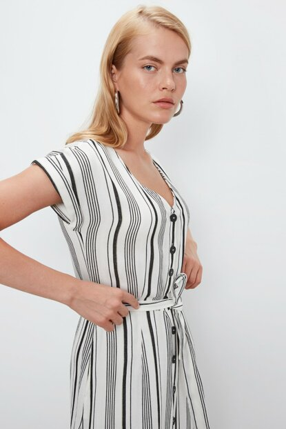 Women's Black Striped Dress 9WI877Z8