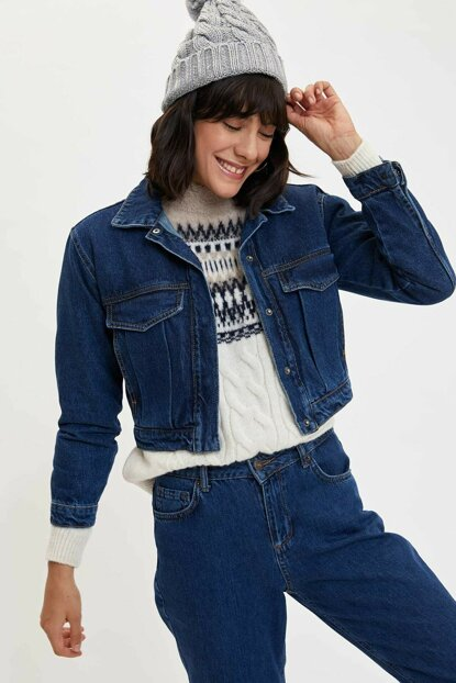 Women's Blue Pocket Detailed Jean Jacket N0033AZ.19AU.NM34