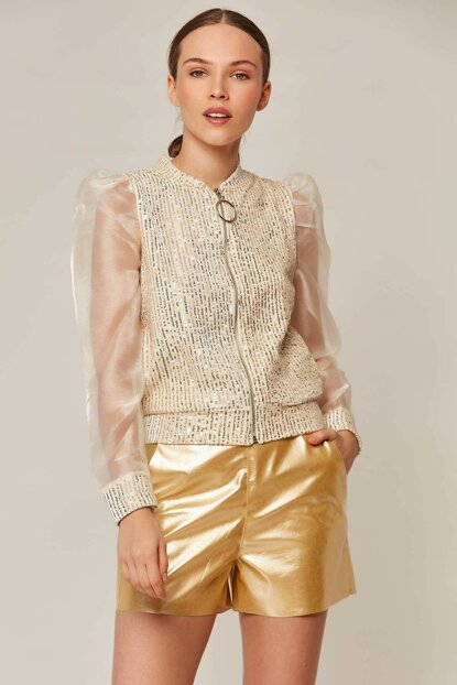 Women's Stone Zippered Handles Chiffon Sequins Lined Y19W104-F328