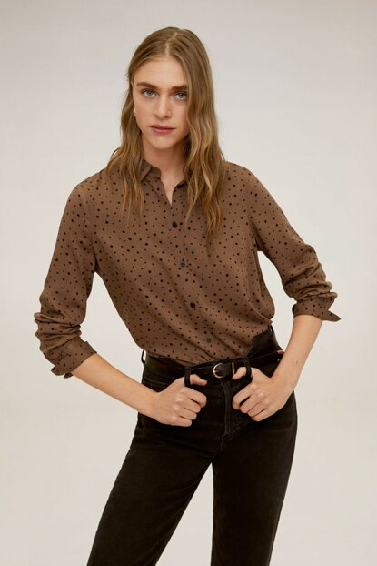 Women's Brown Draped Patterned Shirt 67060543